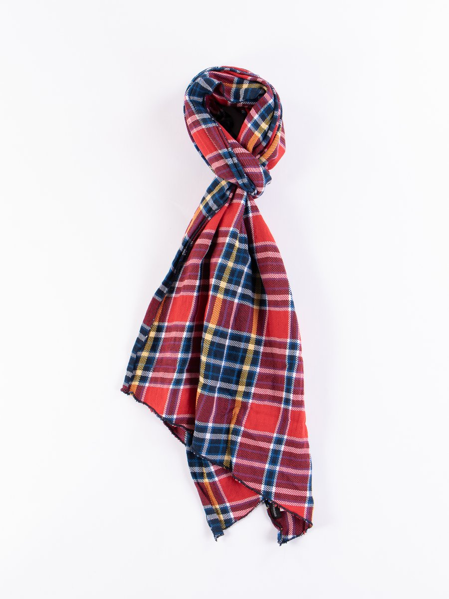 Red/Navy Cotton Twill Plaid Long Scarf