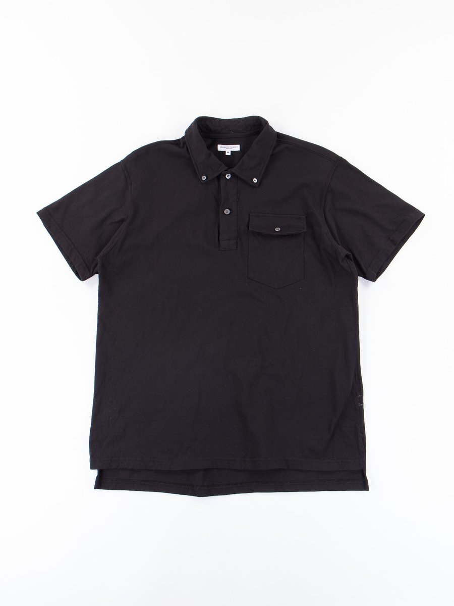 Black Cotton Jersey Knit Polo