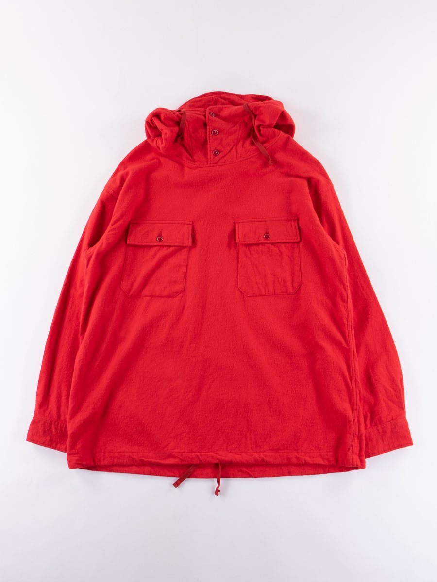 Red Cotton Flannel Cagoule Shirt