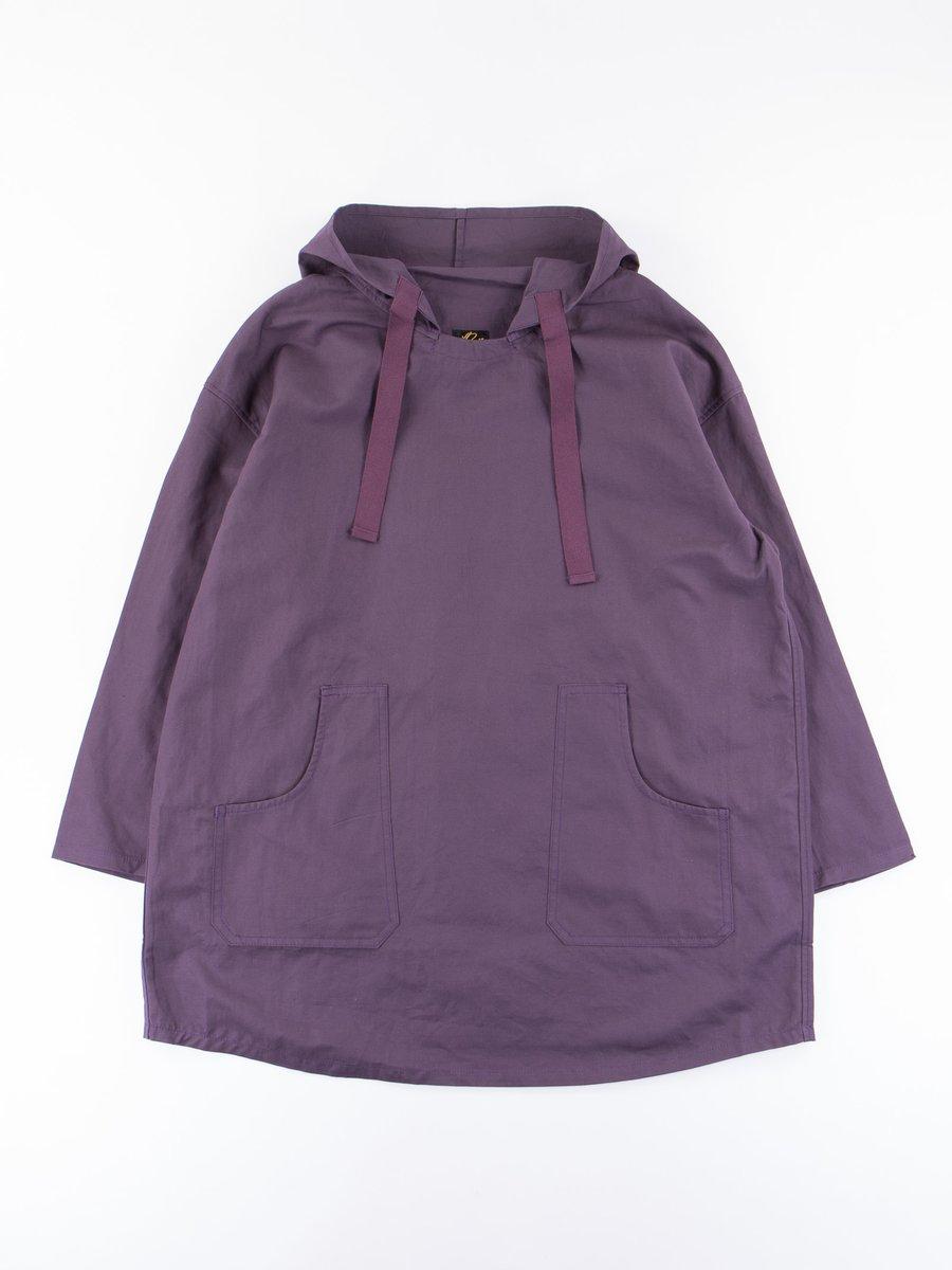 Purple Cotton/Linen Canvas Pullover Parka