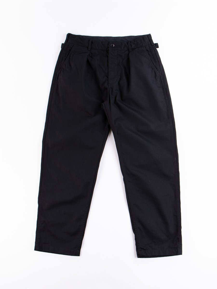Black Cotton Herringbone Twill Ground Pant