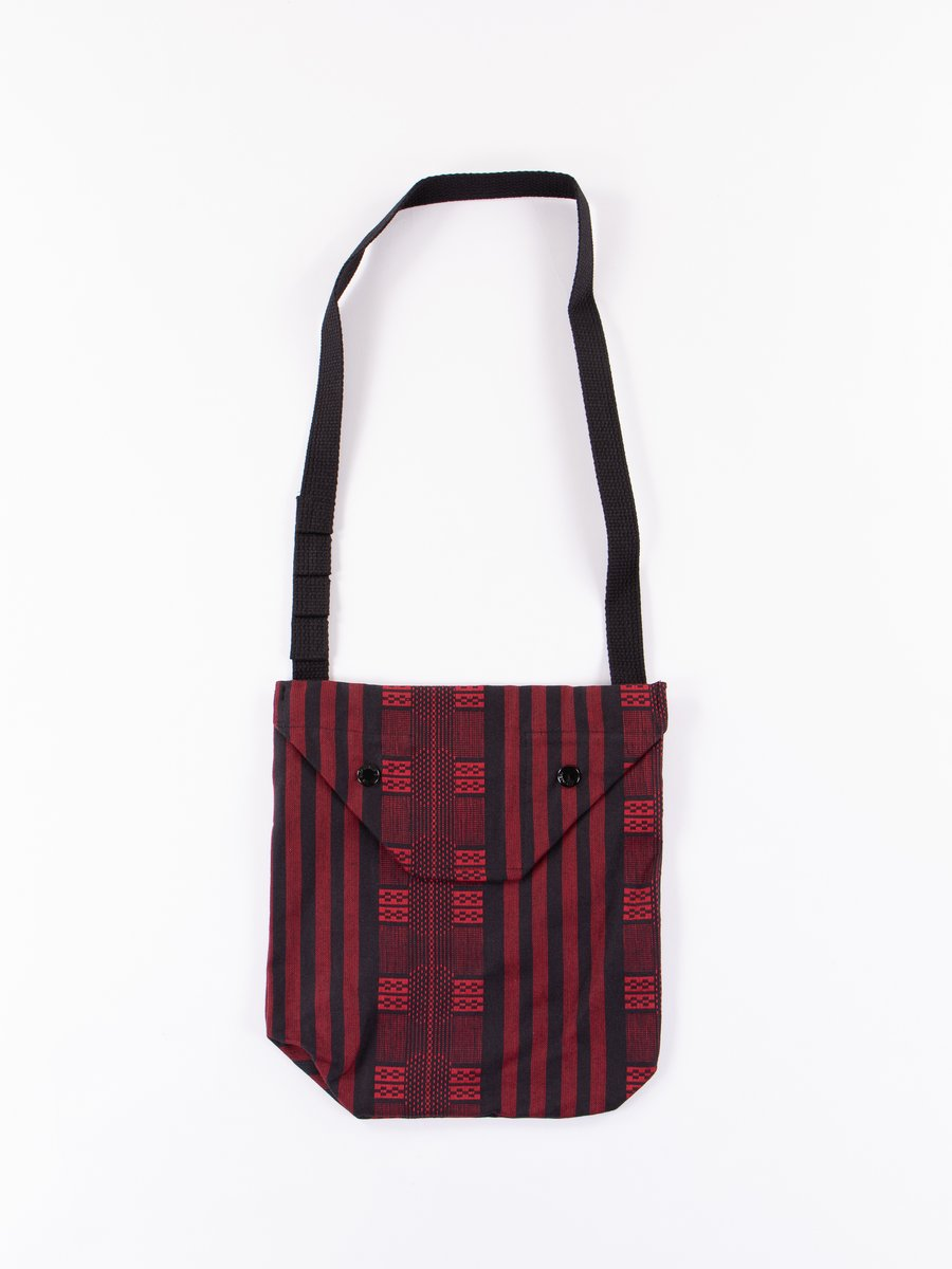Red/Black Ethnic Stripe Jacquard Shoulder Pouch