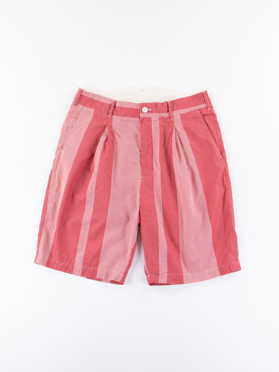 Red/White Mini Gingham Big Stripe WP Short
