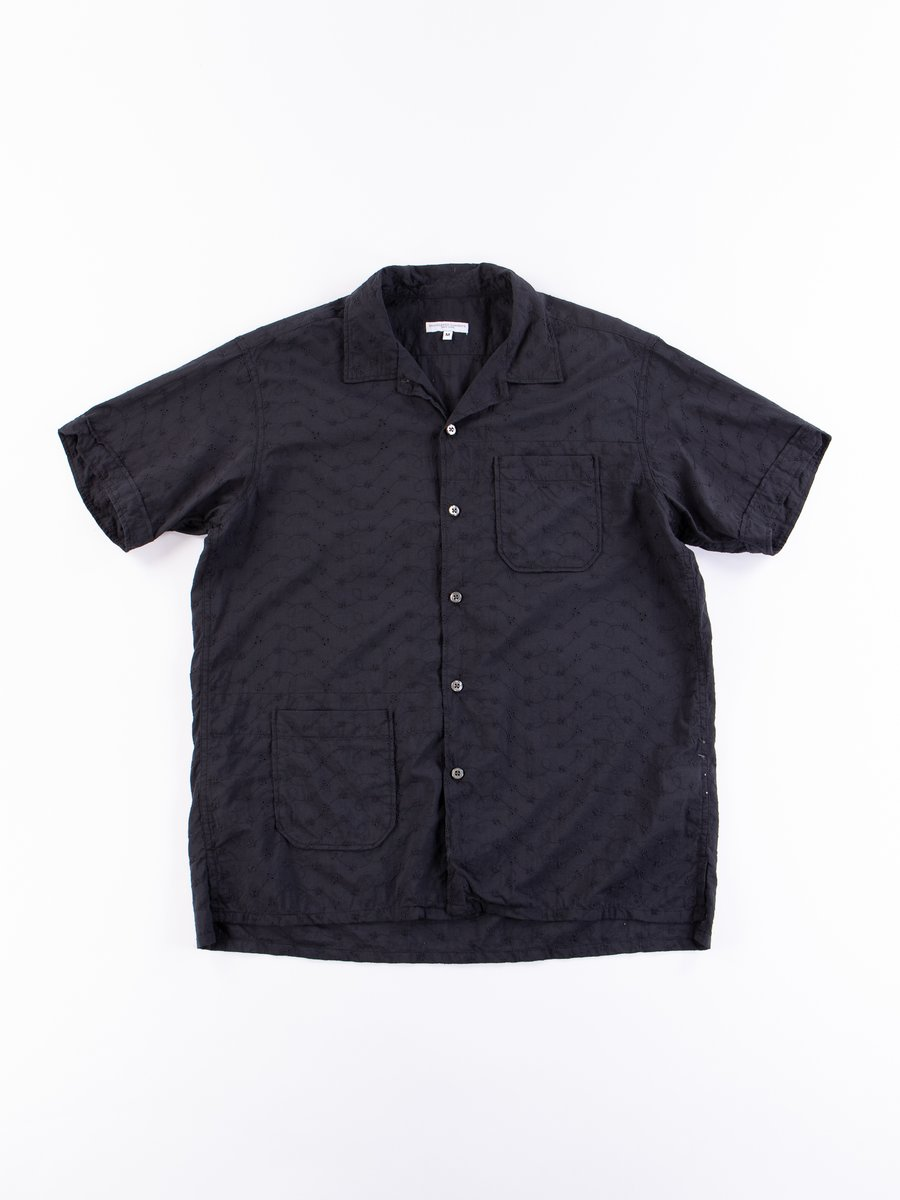 Black Floral Eyelet Camp Shirt