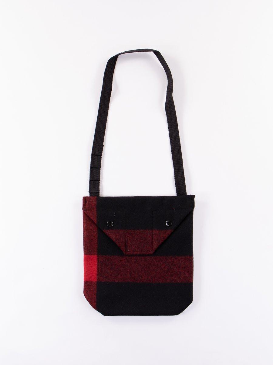 Black Big Plaid Wool Melton Shoulder Pouch