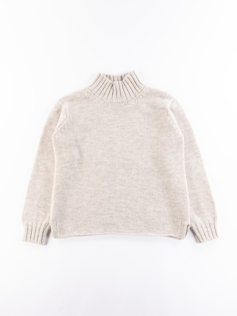 MHL Limestone British Wool Wide Neck Sweater