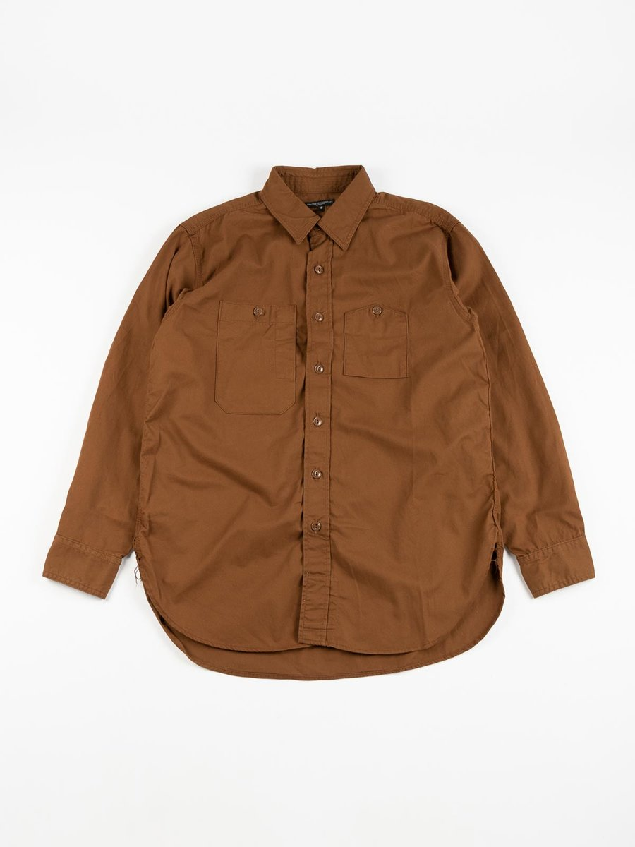 WORK SHIRT BROWN COTTON MICRO SANDED TWILL