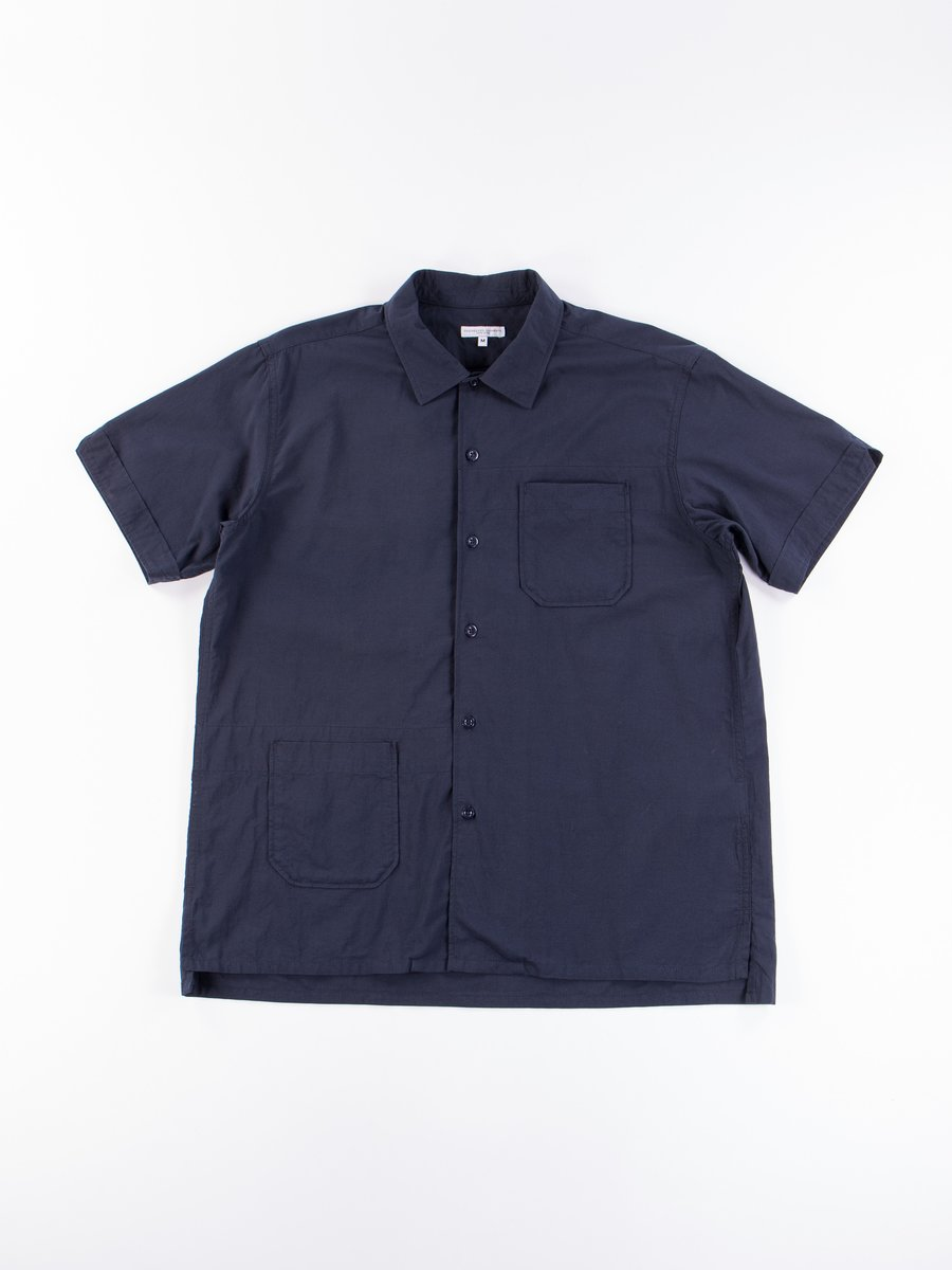Navy Solid Cotton Lawn Camp Shirt