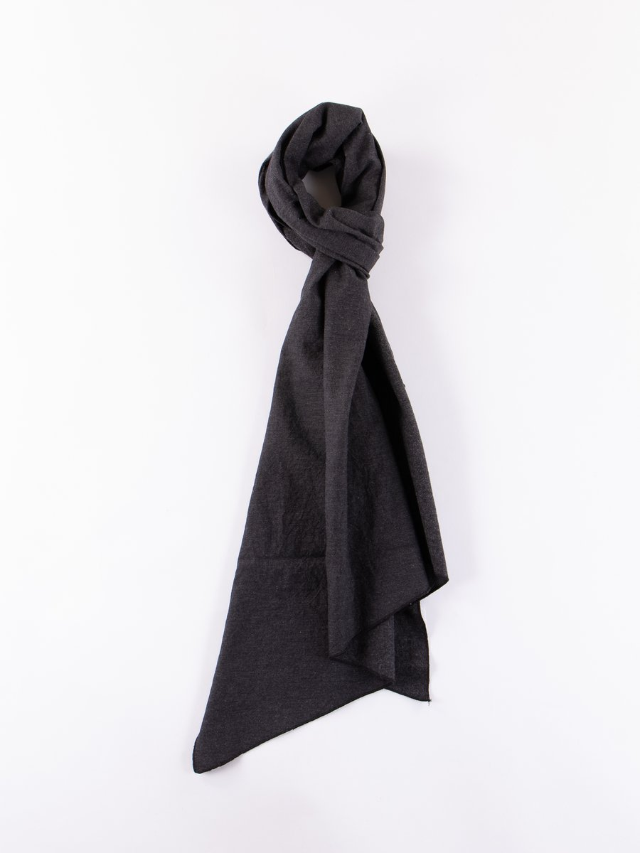 Charcoal Heather Cotton Flannel Long Scarf