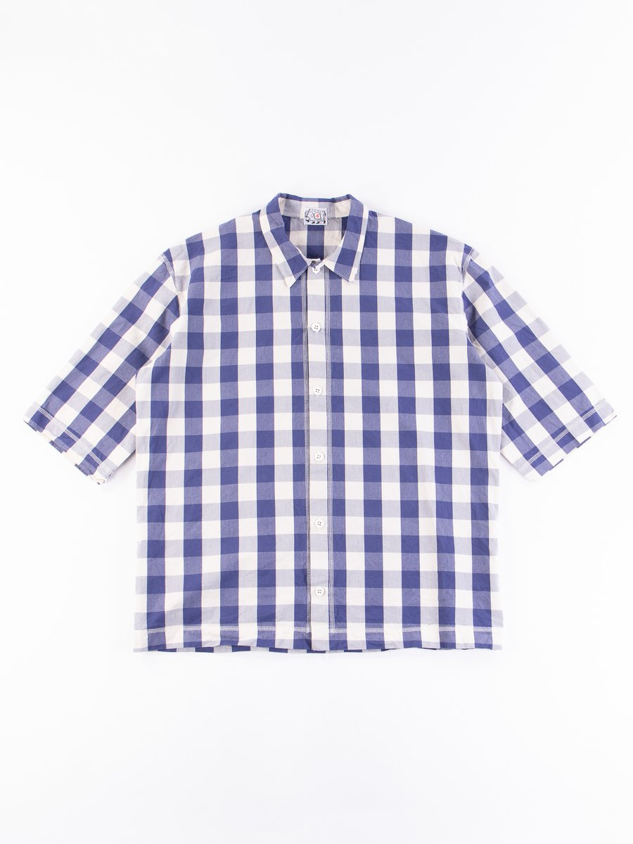 Navy Broad Check Weavers Stock SS Square Shirt