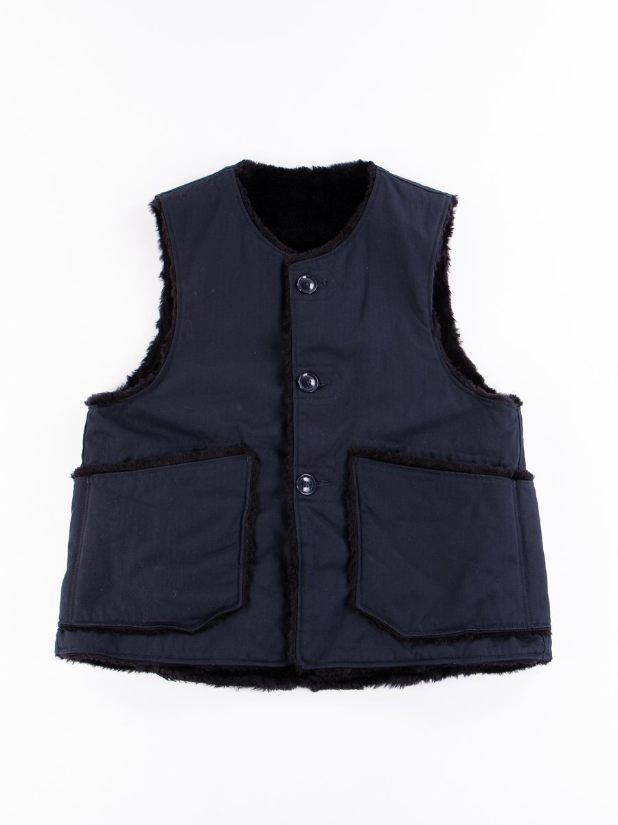 Dark Navy Cotton Herringbone Twill Over Vest