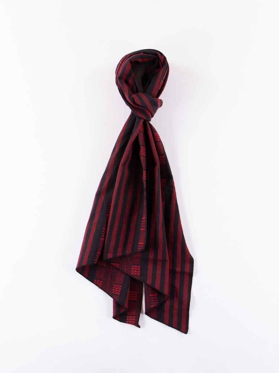 Red/Black Ethnic Stripe Jacquard Long Scarf