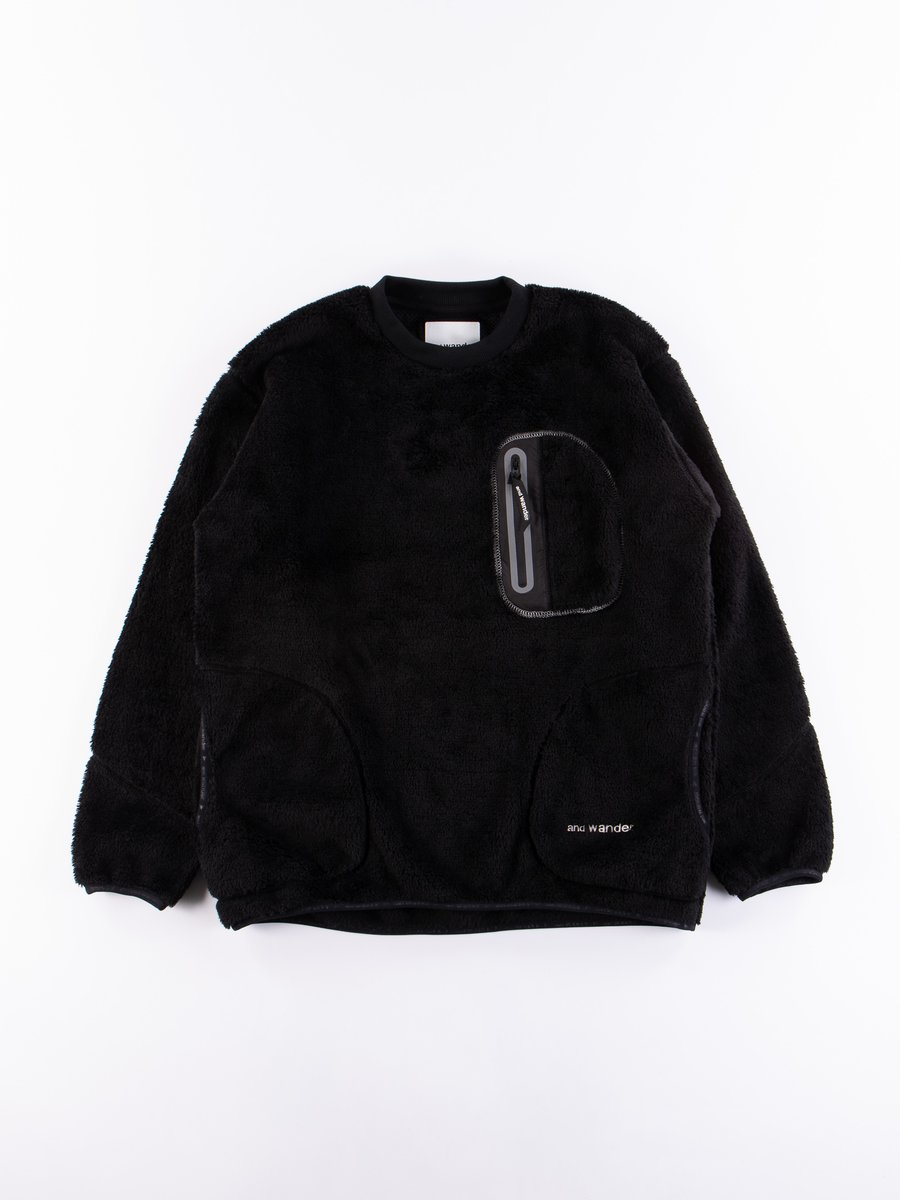 Black High Loft Fleece Pullover