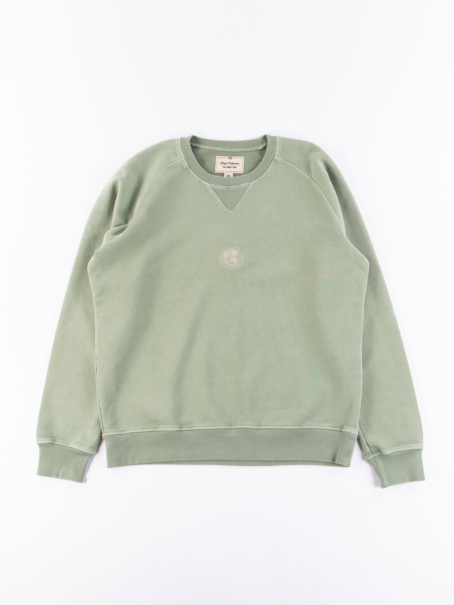 Washed Army Embroidered Logo Crew Sweat