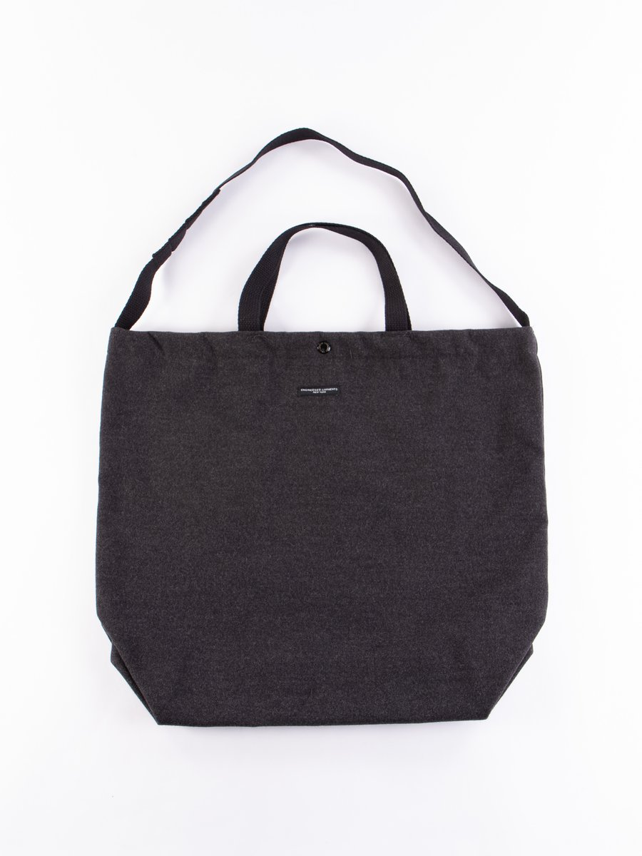 Charcoal Polyester Fake Melton Carry All Tote