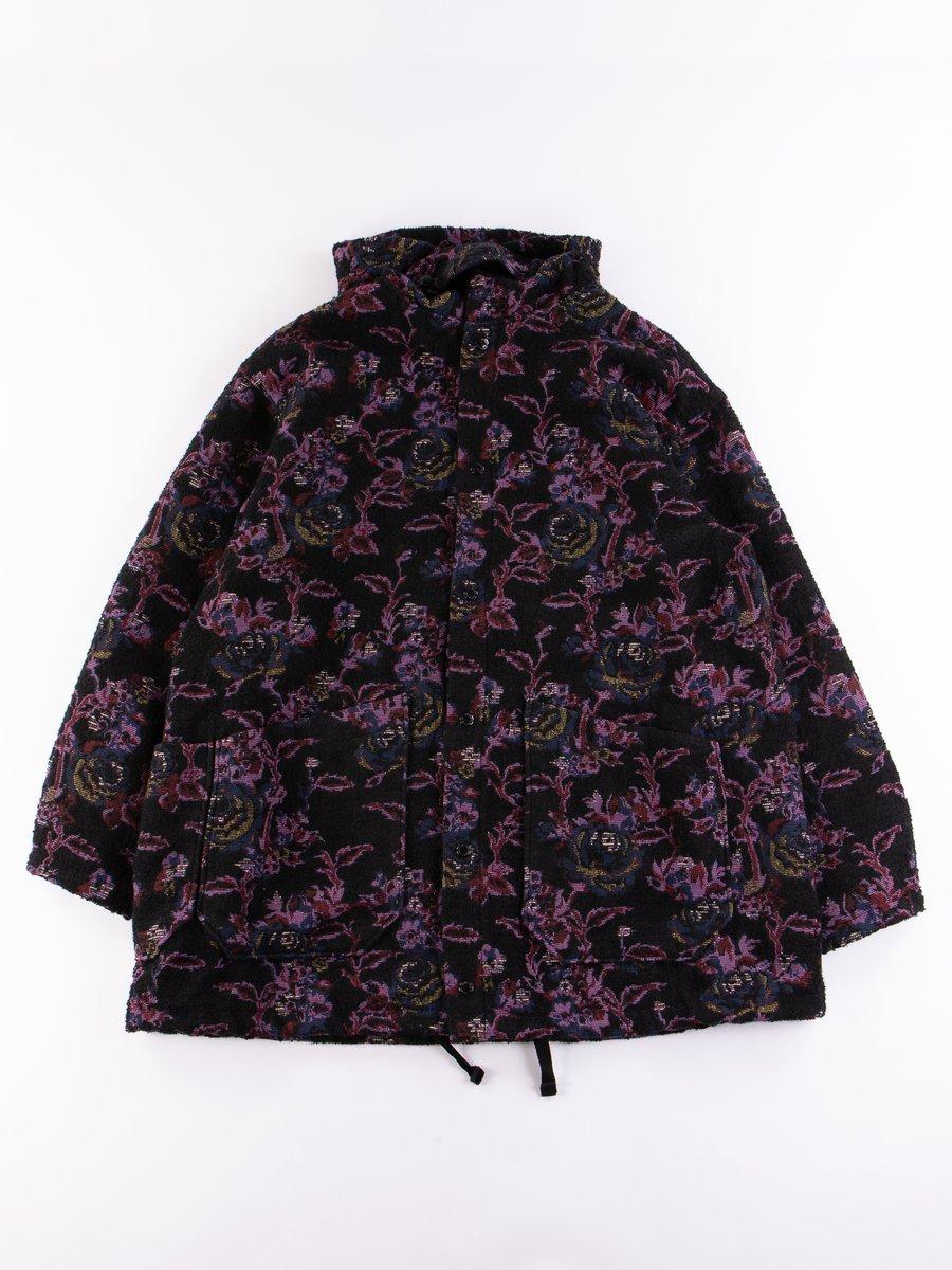 Purple/Black Poly Wool Rose Jacquard Madison Parka