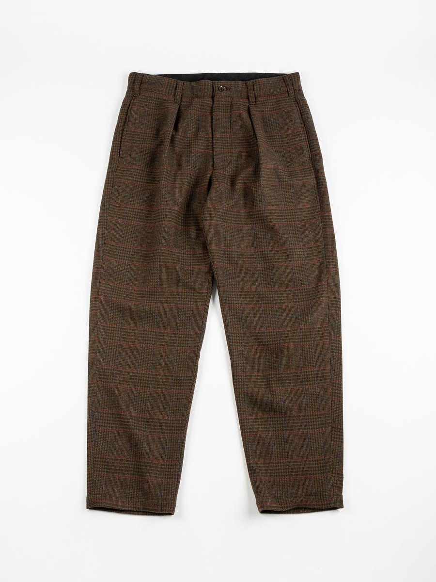 CARLYLE PANT OLIVE BROWN POLY WOOL GLEN PLAID