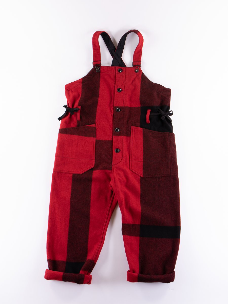 Red Big Plaid Wool Melton Overalls