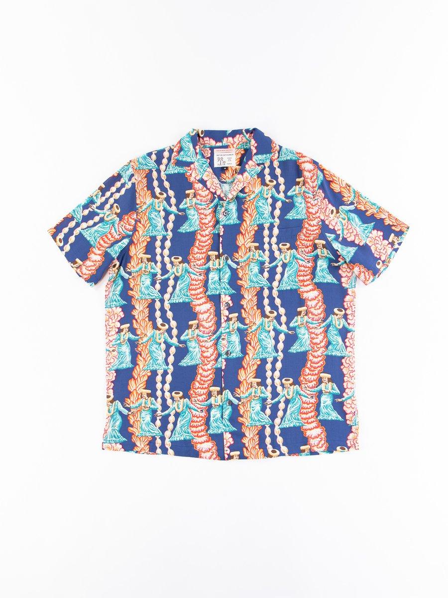 Navy Hula Auana Rayon Camp Shirt
