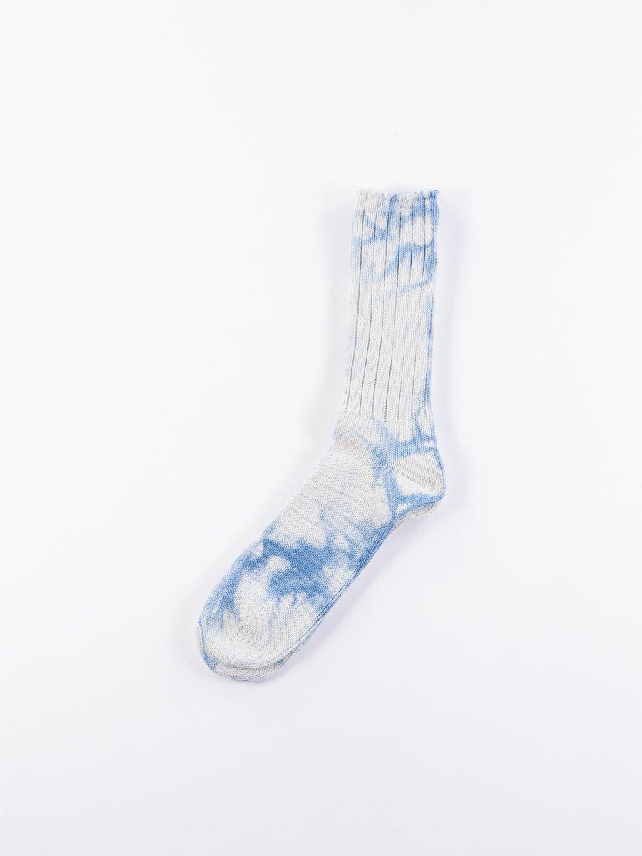 Blue Uneven Dye Crew Socks