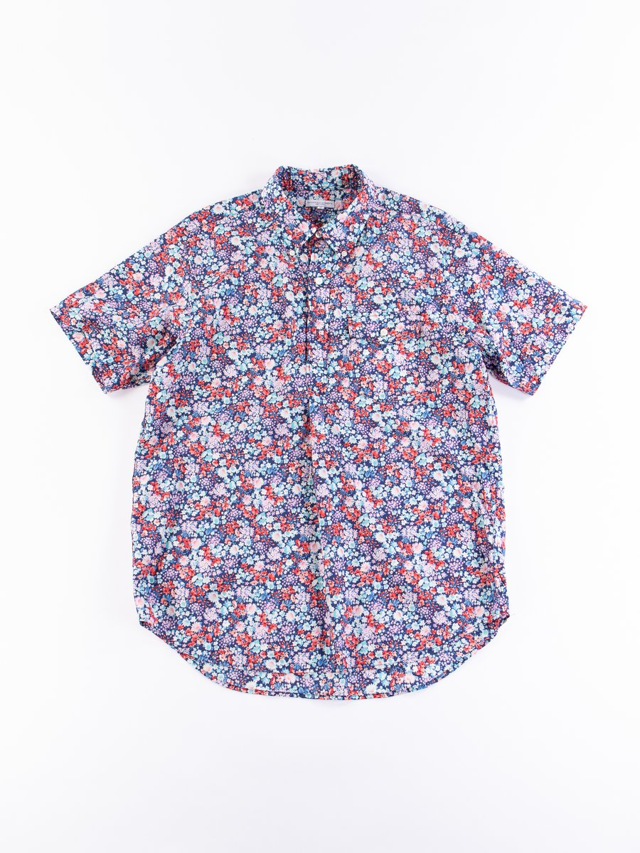Navy/Red/Light Blue Floral Lawn Popover BD Shirt