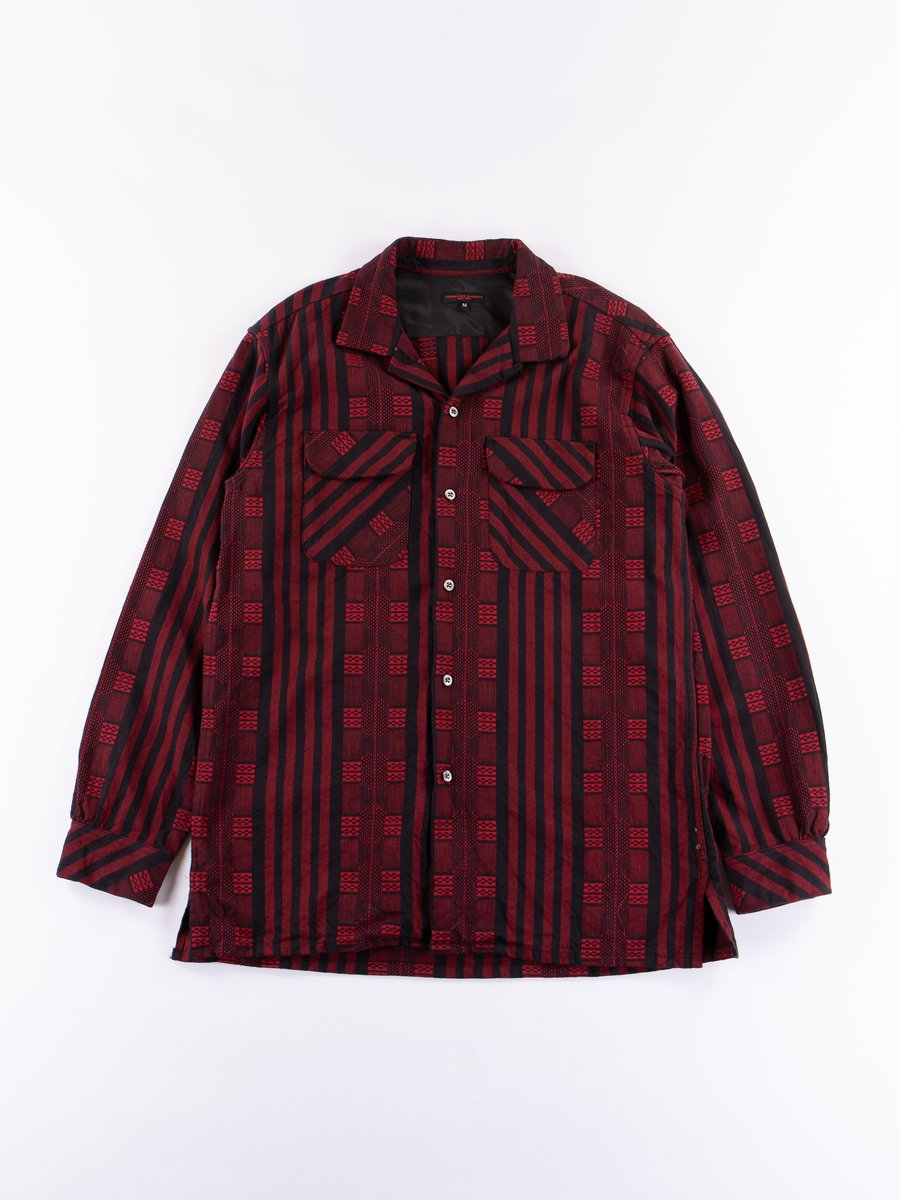 Red/Black Ethnic Stripe Jacquard Classic Shirt