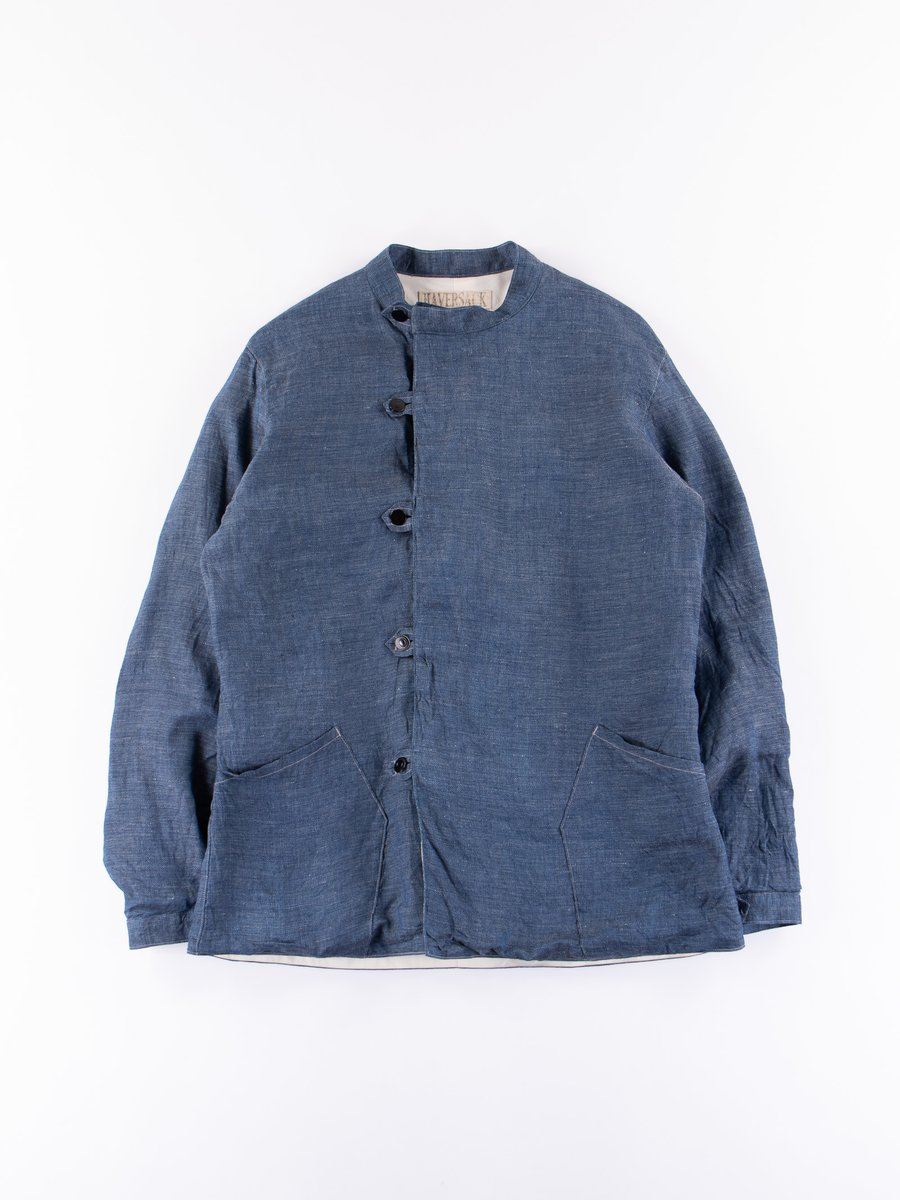Blue Denim Linen Work Jacket