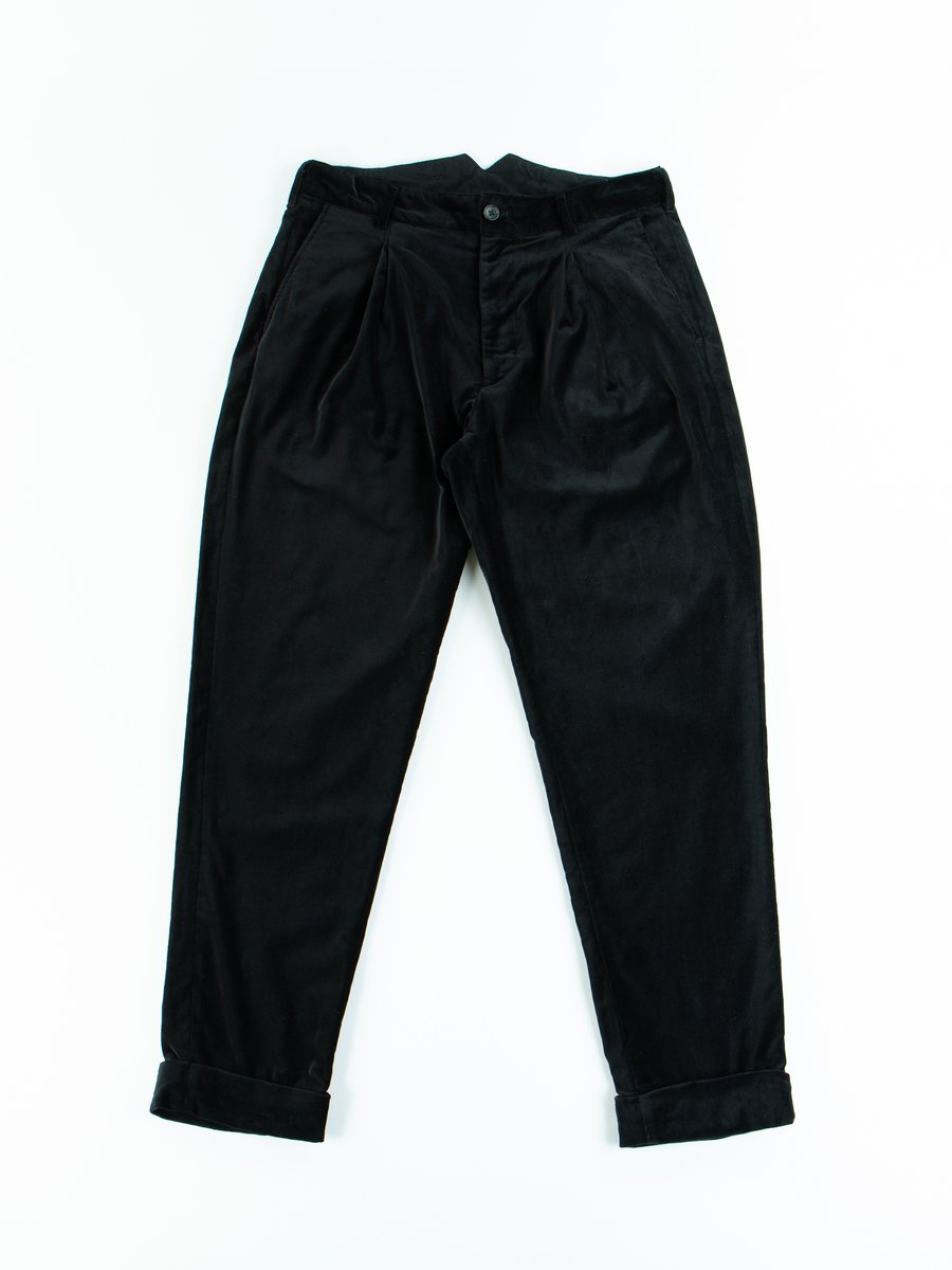 Black Cotton Velveteen WP Pant