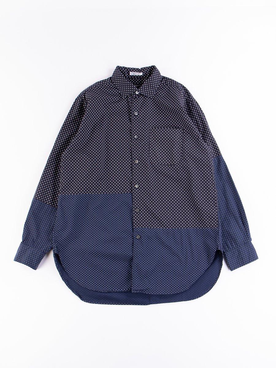 Navy Cotton Big Polka Dot Broadcloth Spread Collar Shirt