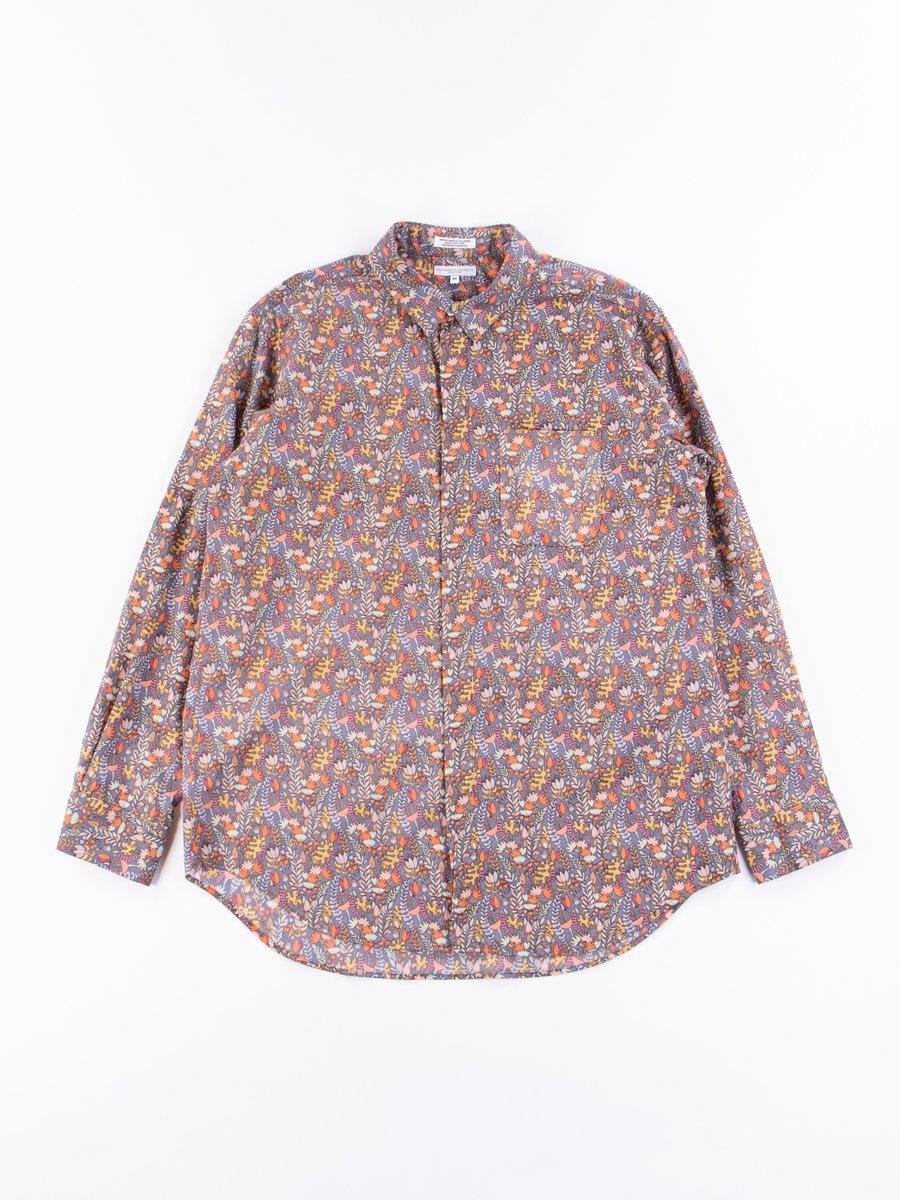 Grey Vertical Floral Print Short Collar Shirt