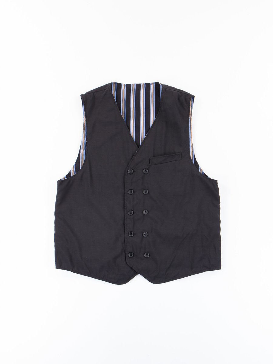 Black Tropical Wool Cordura Reversible Vest