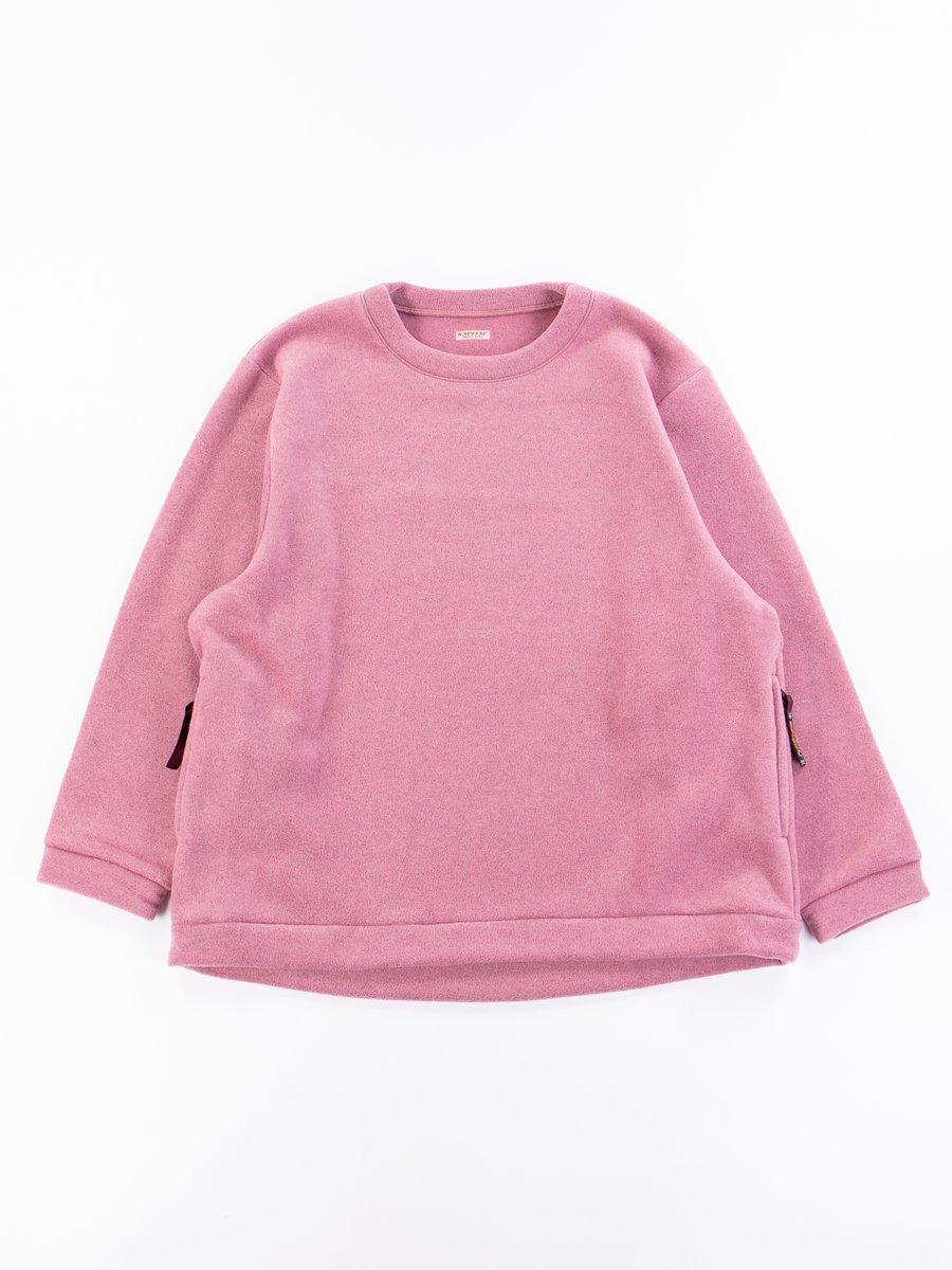 Pink Reverse Fleece Big Crew Sweatshirt