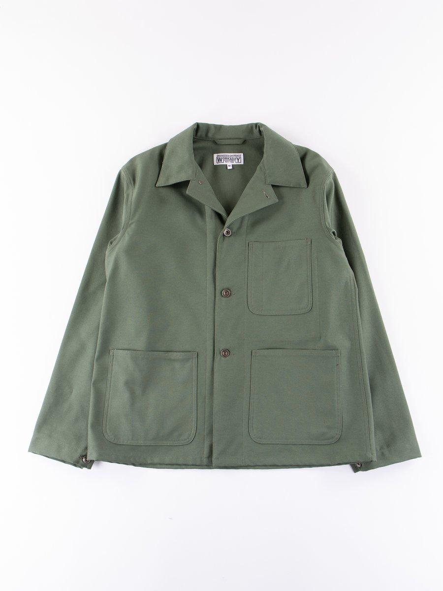 Olive Reversed Sateen Utility Jacket