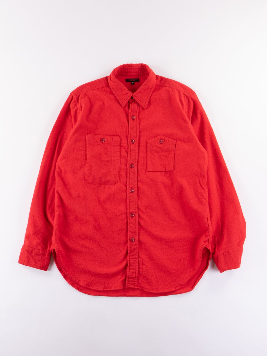 Red Cotton Flannel Work Shirt