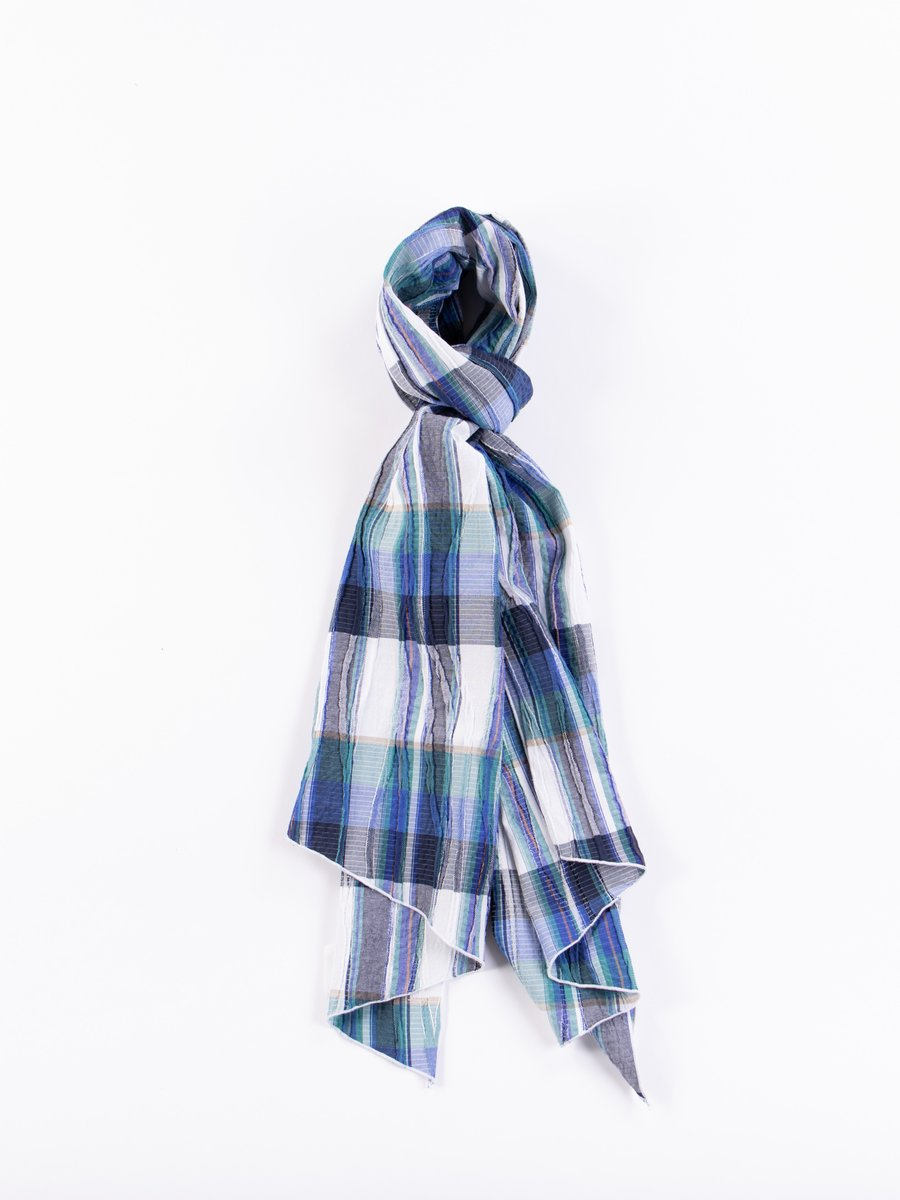 Navy/Green Cotton Crepe Check Long Scarf