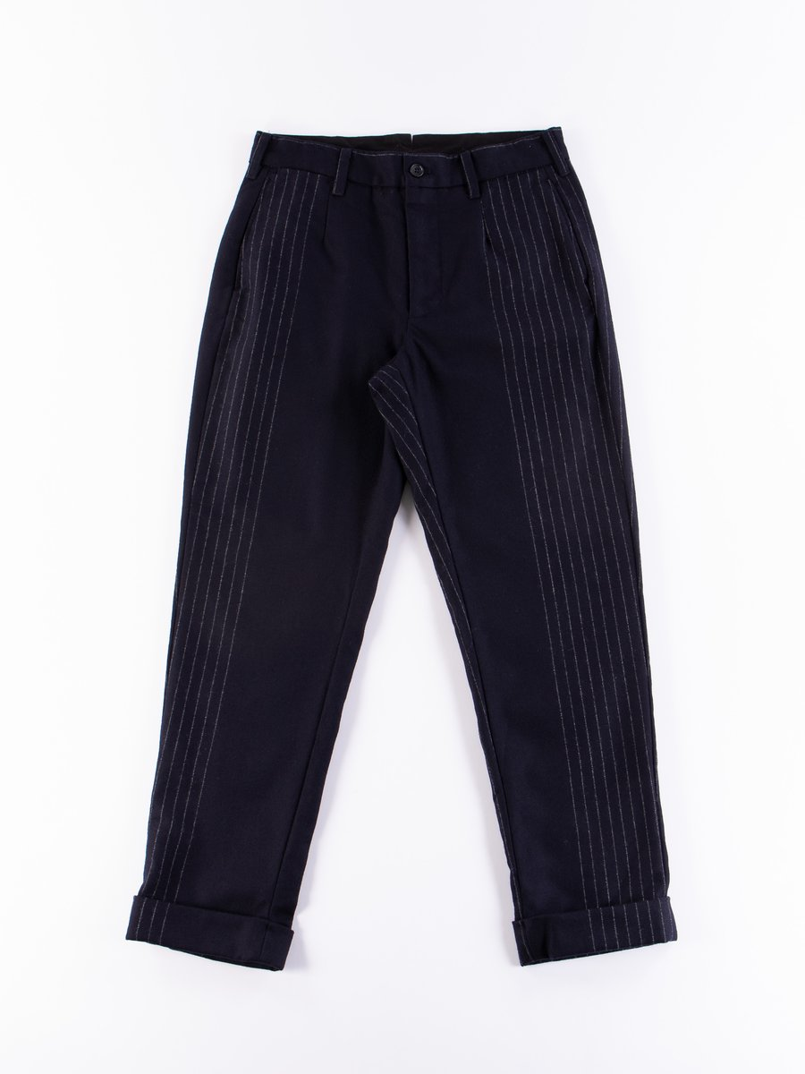 Dark Navy Wool Chalk Stripe Andover Pant