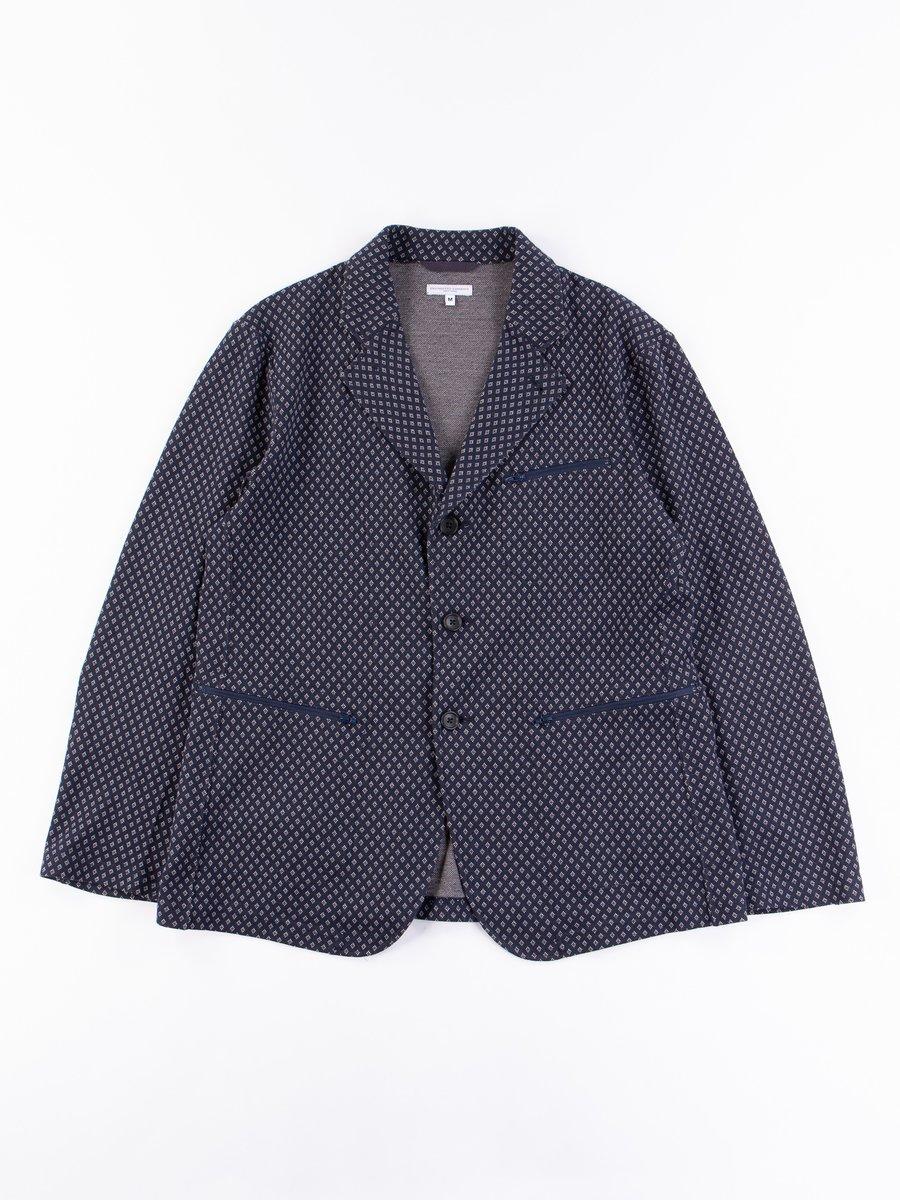 Navy Brown Diamond Jersey Knit Leisure Jacket