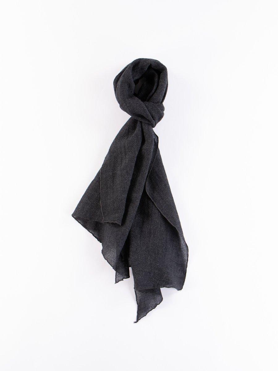 Dark Grey Wool Gauze Long Scarf