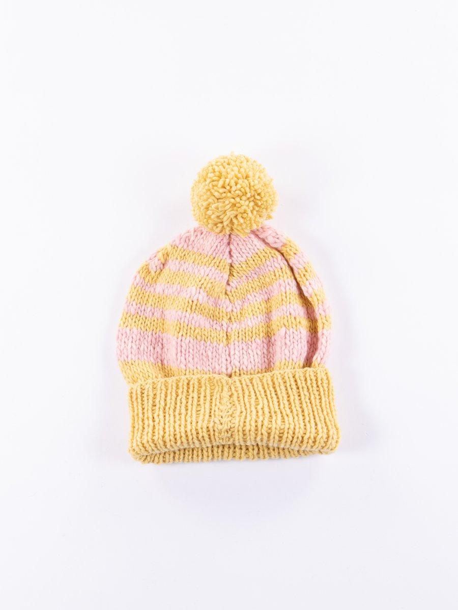 Marigold/Light Pink Double Cuff Stripe Cap
