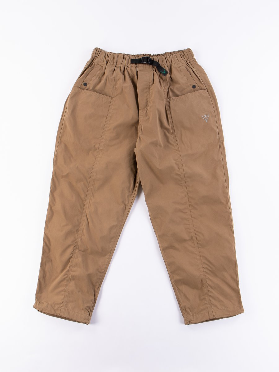 Tan Wax Coating Belted Center Seam Pant