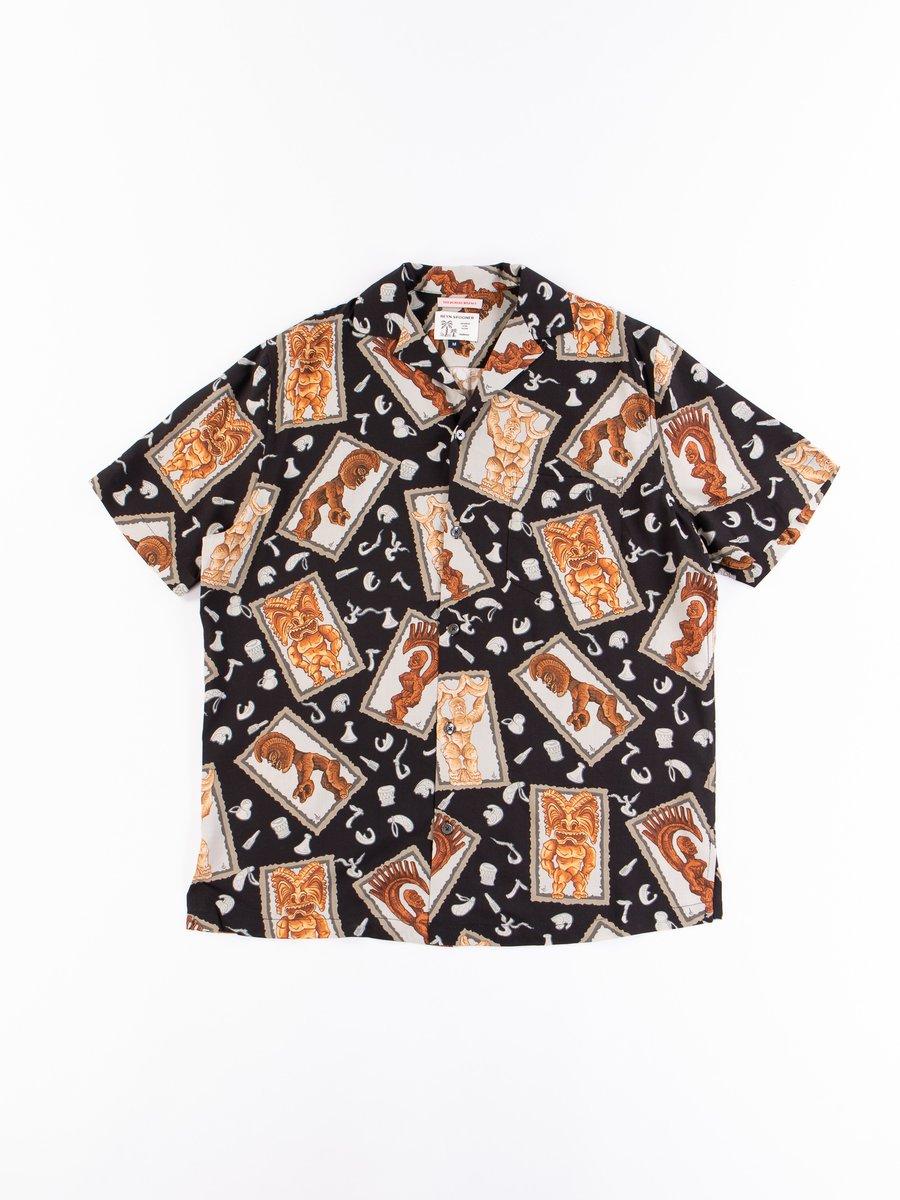 Black Hawaiian Tikis Rayon Camp Shirt