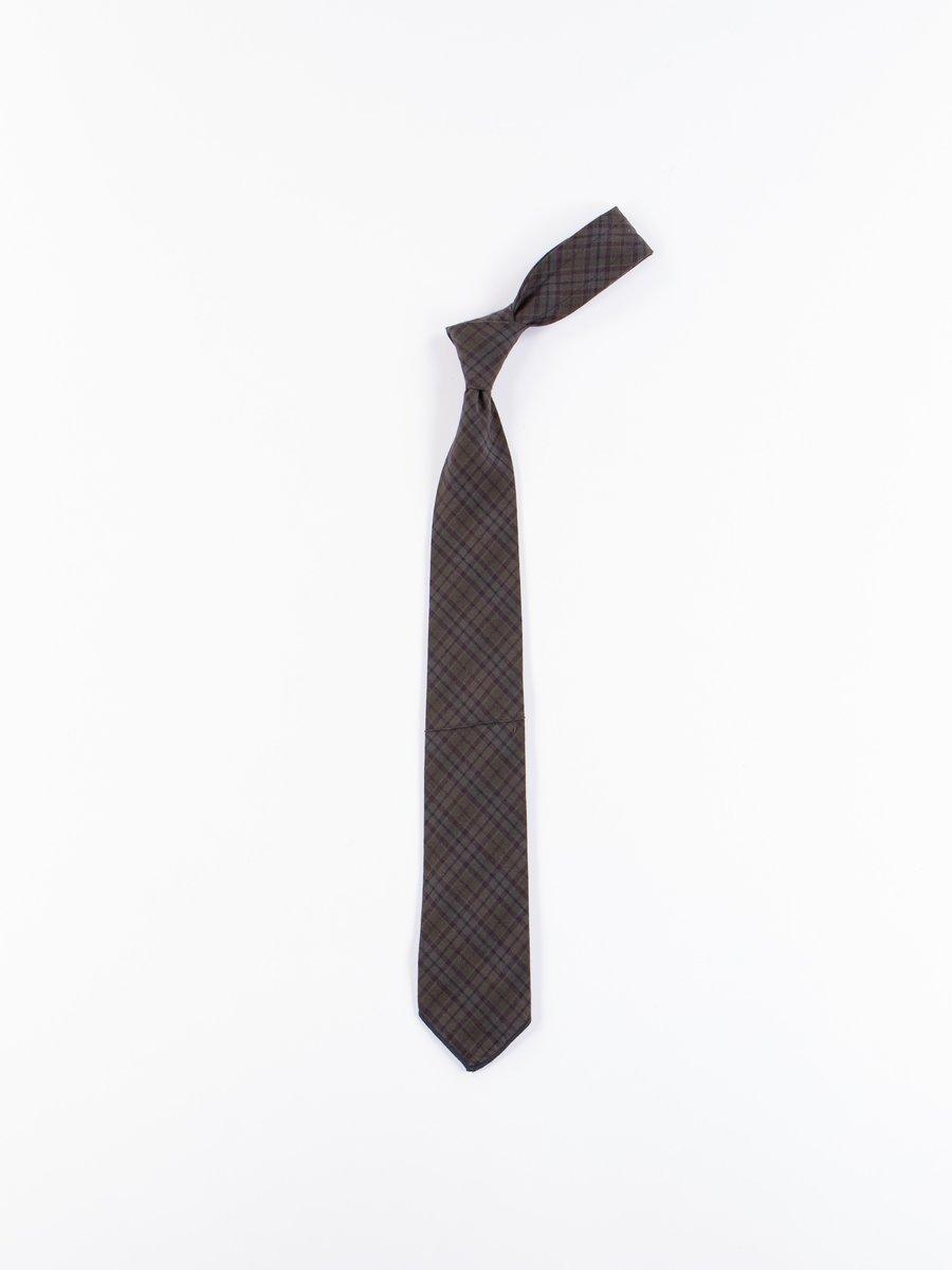 Dark Olive Cotton Pintuck Small Plaid Neck Tie