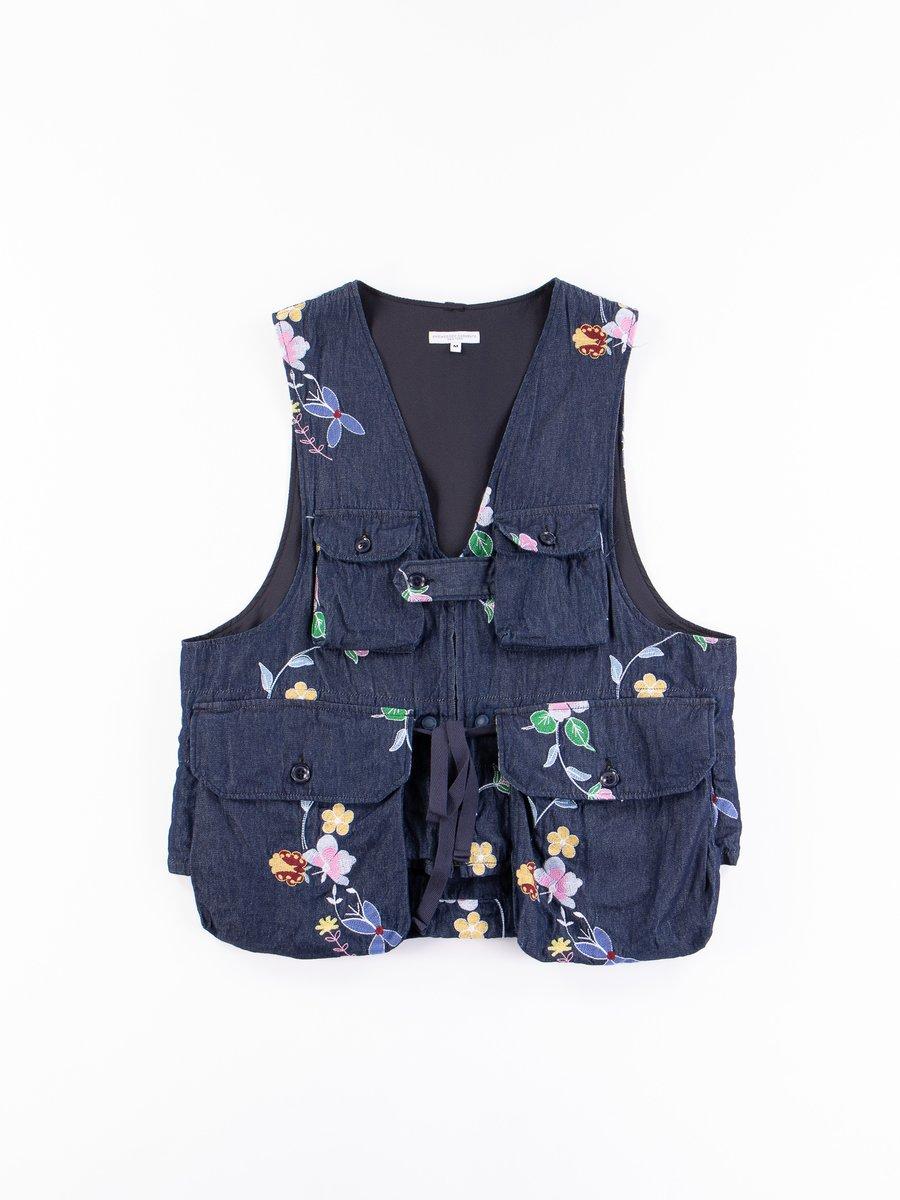 Indigo Denim Floral Embroidery Game Vest