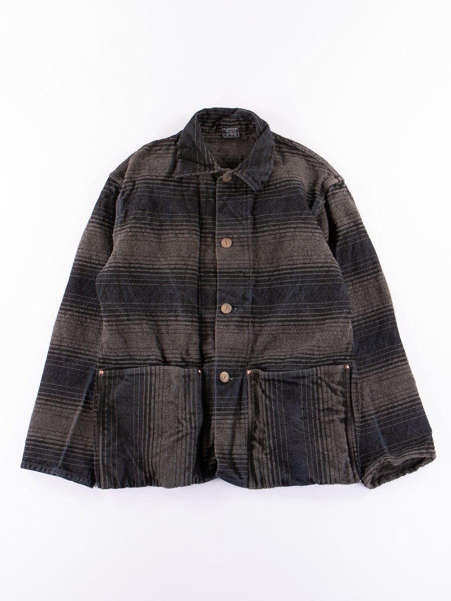 Indian Black Dye Doppler Stripe Collared Shepherd's Coat