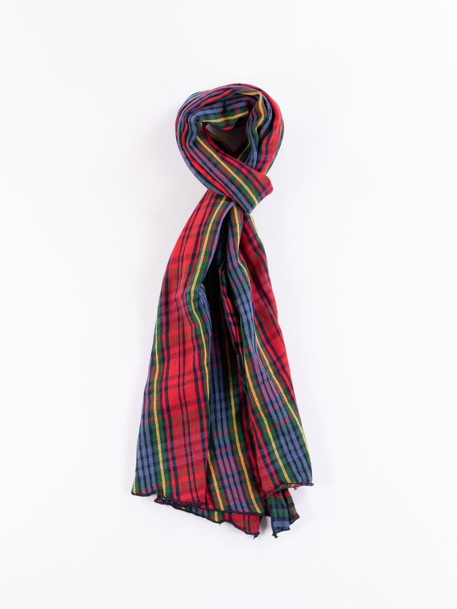 Navy/Red/Green Cotton Twill Plaid Long Scarf
