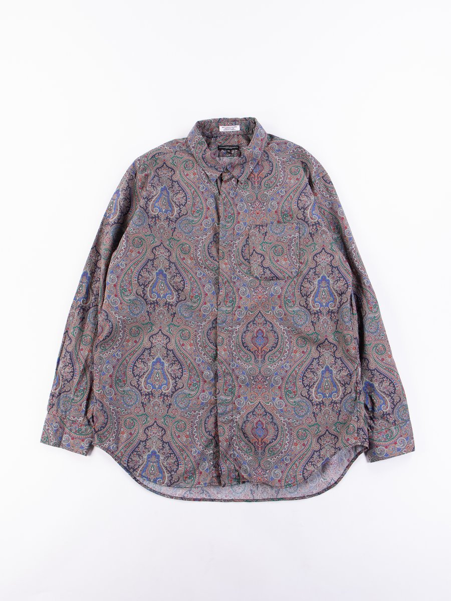 Grey Cotton Paisley Print Short Collar Shirt