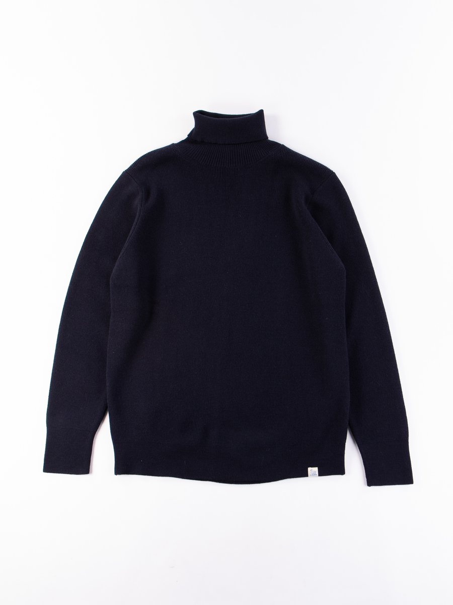 Dark Navy Good Basics Classic Wool Turtleneck Pullover
