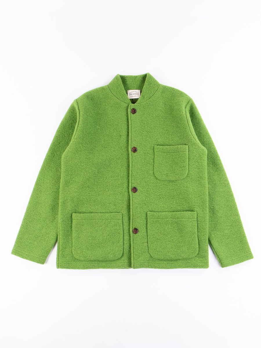 Green Wool Fleece Knitwork Jacket