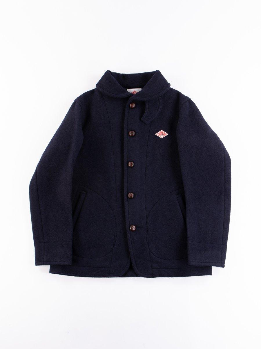 Navy Mossa Wool Round Collar Jacket