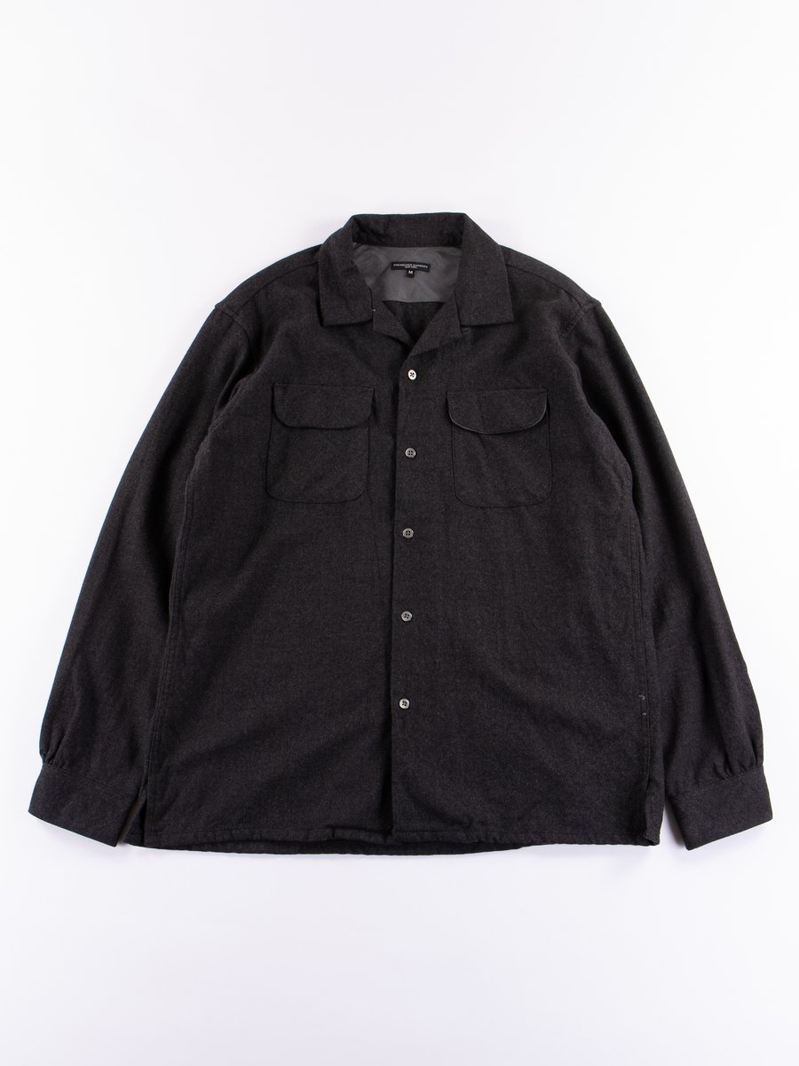 Charcoal Heather Worsted Wool Flannel Classic Shirt